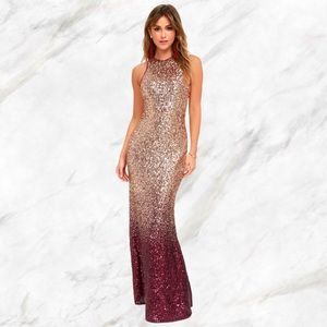 Lulu's | Burgundy & Rose Gold Ombre Sequin Dress